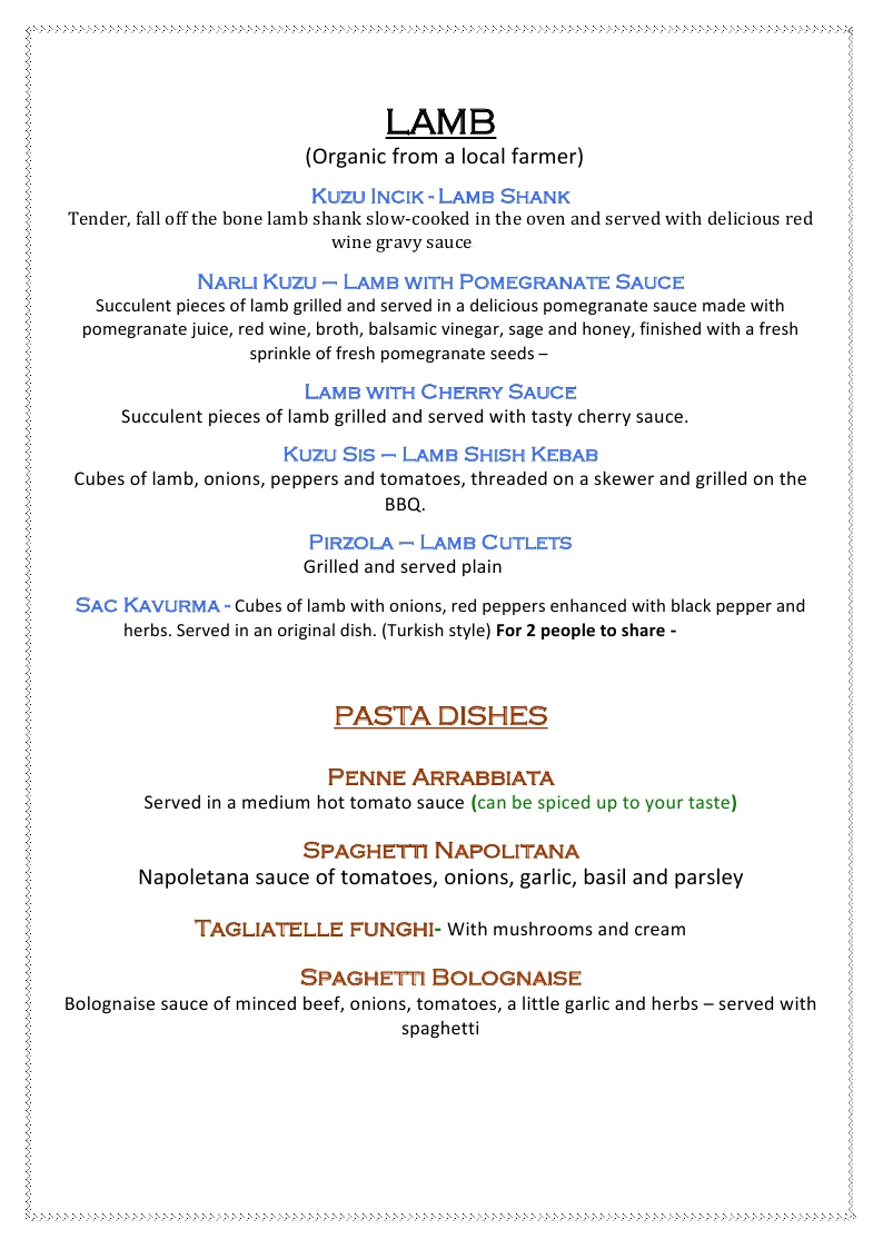 Sample DINNER MENU 2019 4