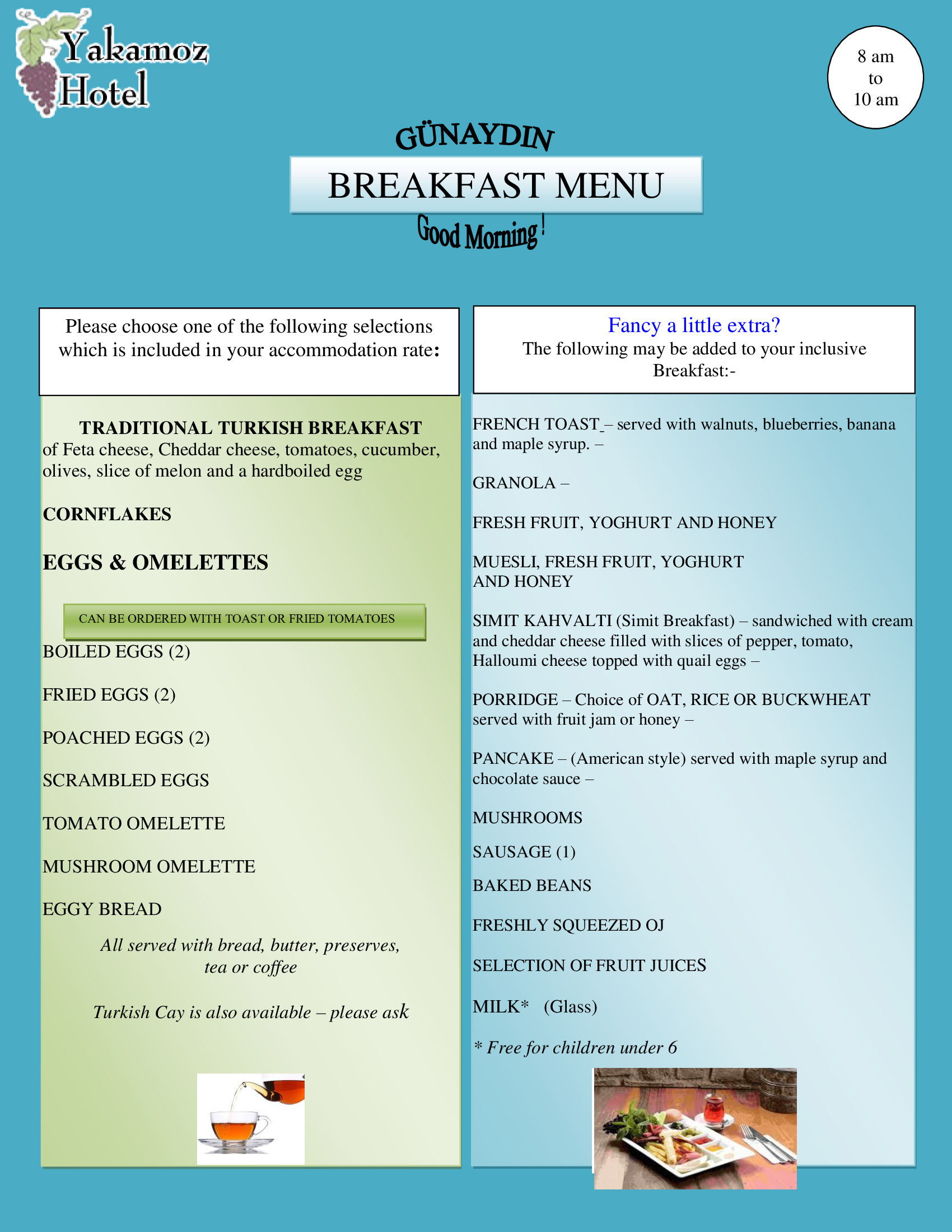 Sample Breakfast Menu 2020